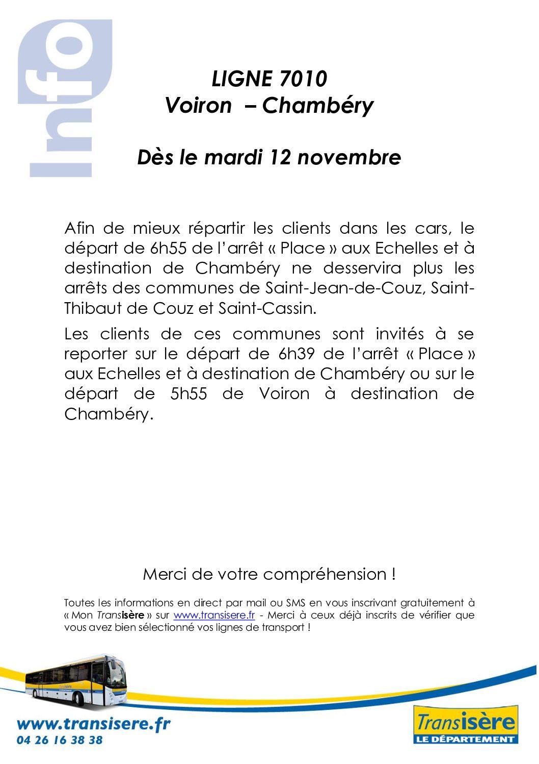 Arrêts supprimés Ligne 7010 Voiron – Chambéry