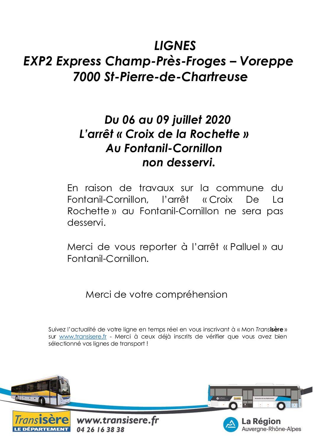 """Ligne 7000, arrêt """"Croix de la Rochette"""" non desservi"""